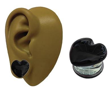 One - 14 mm - Corazón Negro Cristal de Pyrex - color en la parte ...