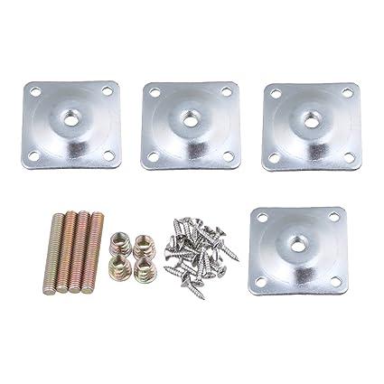 BQLZR 48 x 48 mm de hierro plata Pierna placas de montaje con tornillos tornillos adaptadores