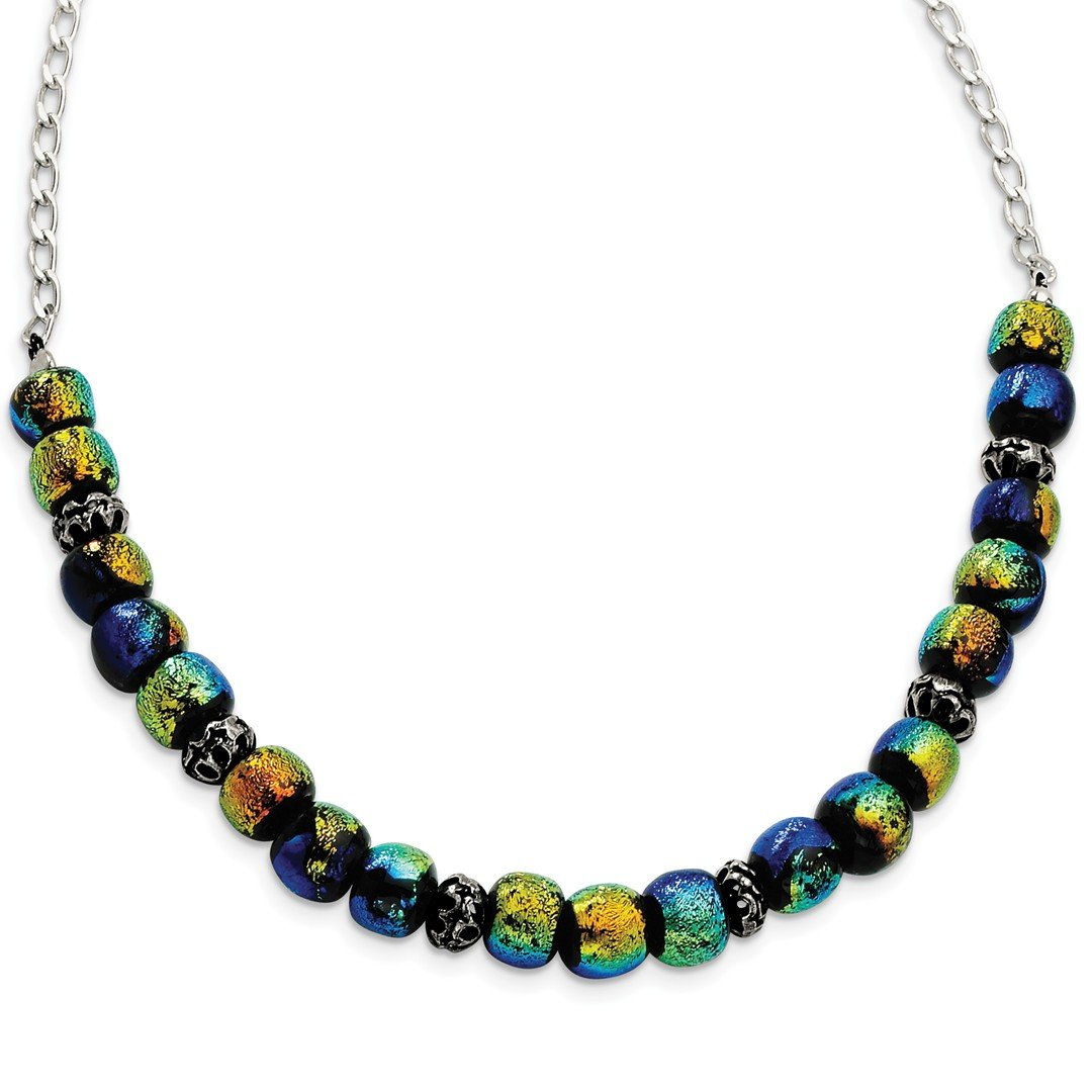 ICE CARATS 925 Sterling Silver Dichroic Glass Beaded 17in Chain Necklace Fancy Fine Jewelry Gift Set For Women Heart