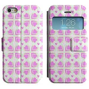 Be-Star Diseño Impreso Colorido Slim Casa Carcasa Funda Case PU Cuero - Stand Function para Apple iPhone 5 / 5S ( Pink Hearts )