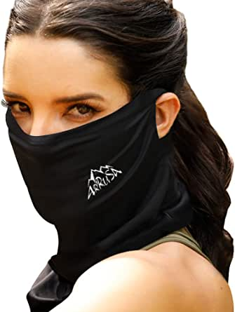 ARRUSA Summer Cool Face Cover, Neck Gaiter Dust&UV-Protection Bandanas Breathable Scarf for Men&Women Outdoor Sports