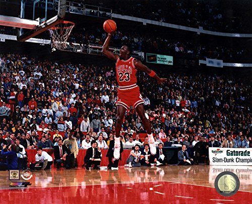 Michael Jordan 1988 NBA Slam Dunk Contest Action Art Print, 10 x 8 inches - 1988 Poster