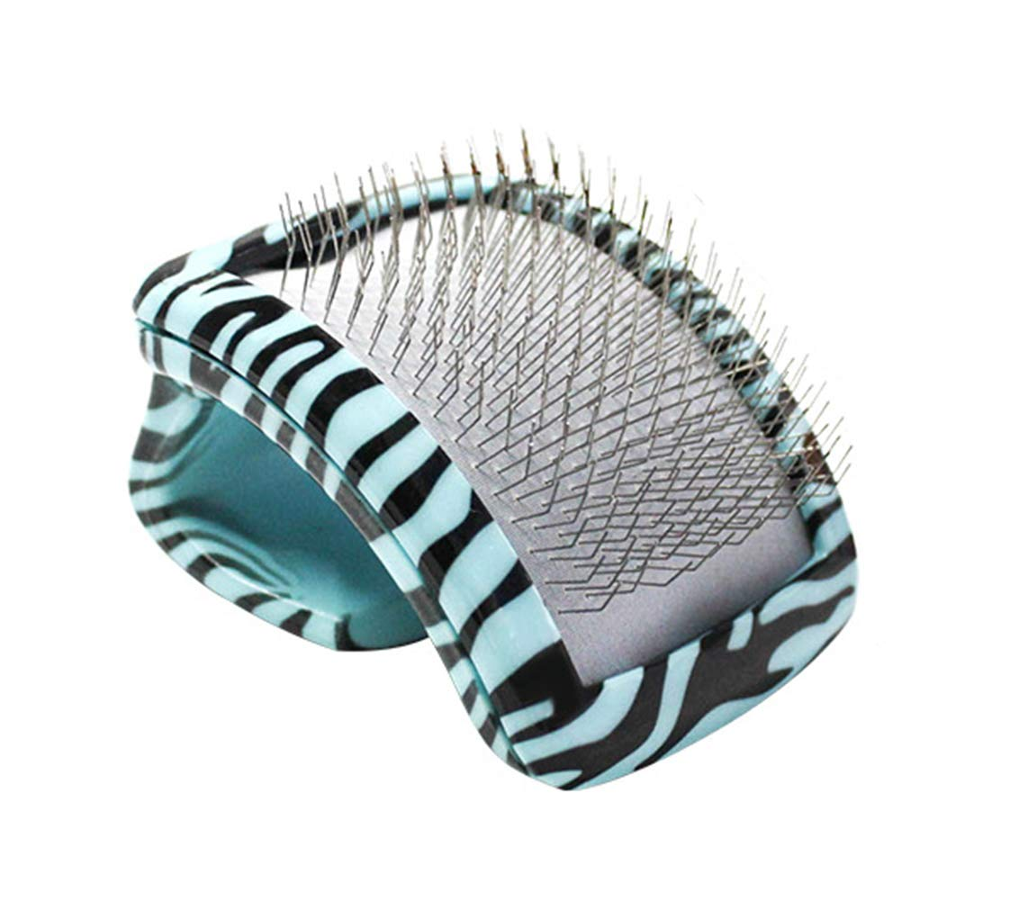Pet Grooming Brush,Massage,Removes Mat,Tangles,and Loose Hair,for Cats and Small Dogs,Curved Handle,bluee Pattern,Shedding Tool Comb, Medium Short Hair