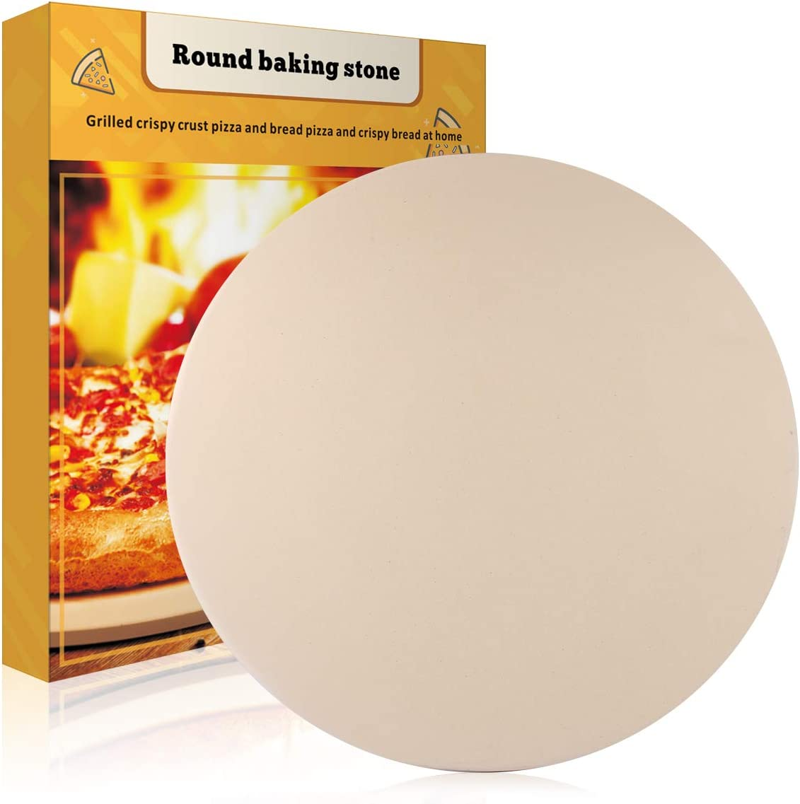 """JulyPanny Pizza Stone, 15"""" Ceramic Pizza Grilling Stone/Baking Stone, Perfect Baking Tools for BBQ and Grill - Thermal Shock Resistant, Durable and Safe Pizza Pan"""