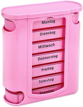 Schramm/® Tablettenbox pink mit pinken Schiebern 7 Tage Pillen Tabletten Box Schachtel Tablettendose Pillendose Pillenbox Tablettenboxen Pillendosen Pillen Dose Wochendosierer