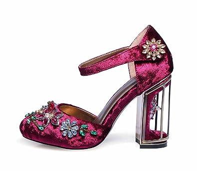 238ae6afb Women Flowers Ankle Strap Sandals 2018 Summer New High Heels Velvet  Birdcage Heel Sandals Large Size