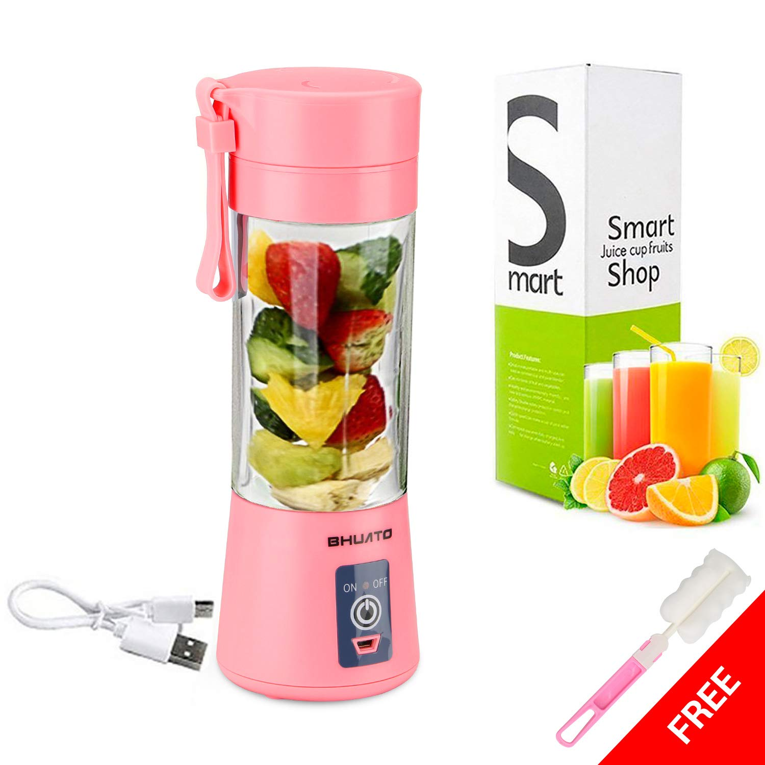 [Upgraded Version] USB Juicer Cup by Huatop, Portable Juice Blender, Household Fruit Mixer - Six Blades in 3D, 380ml Fruit Mixing Machine for Superb Mixing (Pink)