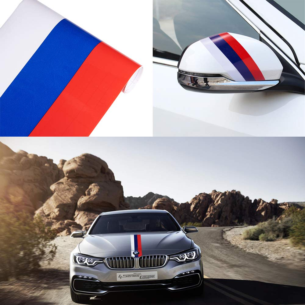 Atmomo car racing stripe decal sticker for car decoration car fender hood roof side trunk bumper of racing rally stripes graphics decal white blue