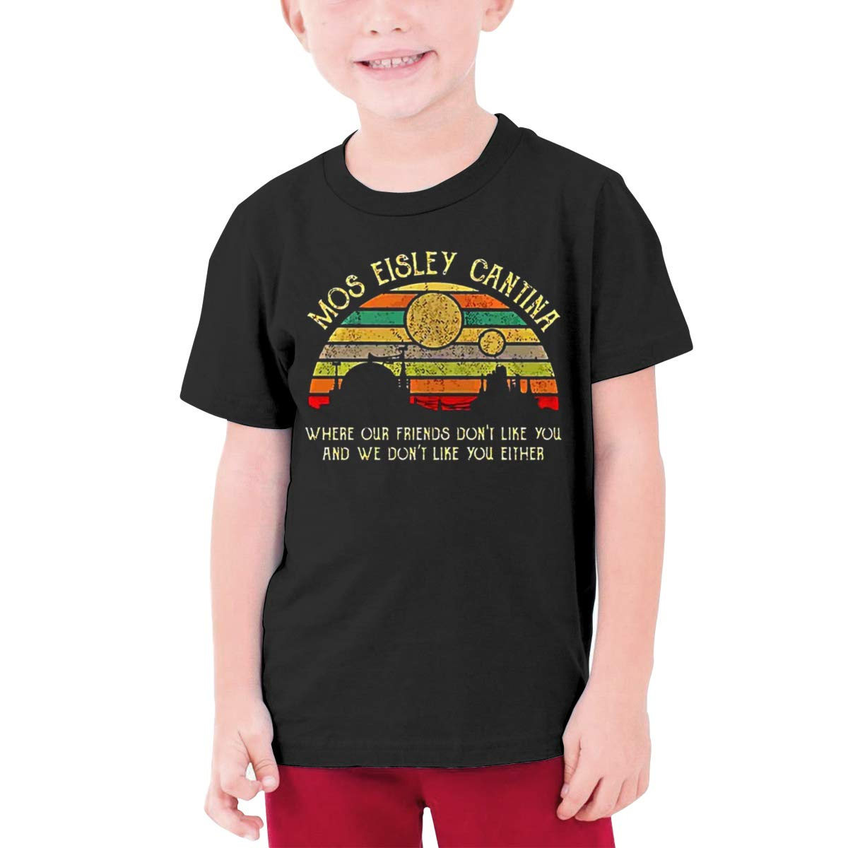 Alffe Mos-Eisley-Cantina-Where-Our-Friends-Dont-Like-You T-Shirt Boy Kids O-Neck 3D Printing Youth Fashion Tops