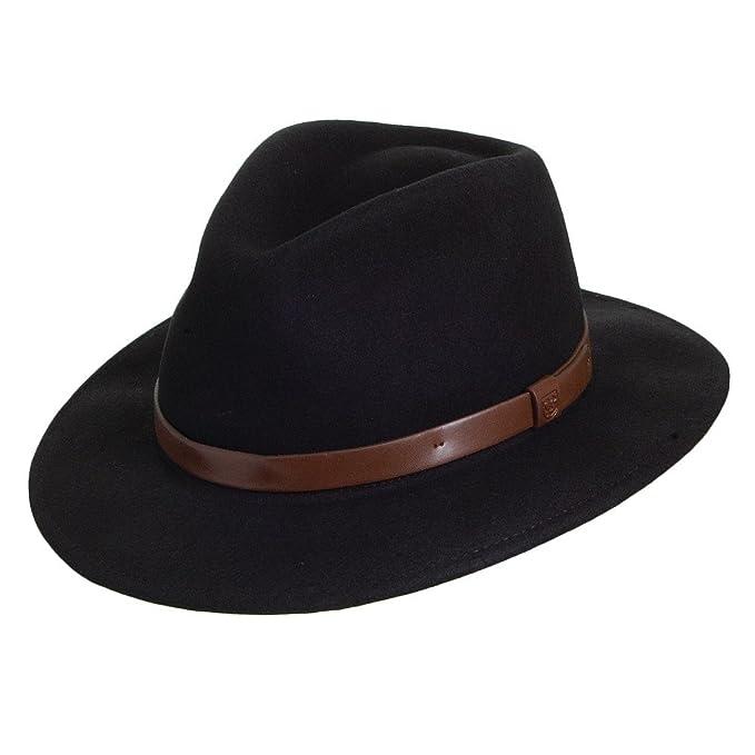 Sombrero Fedora Messer de Brixton - Negro con cinta decorativa marrón   Amazon.es  Ropa y accesorios 7d06b07a0fd