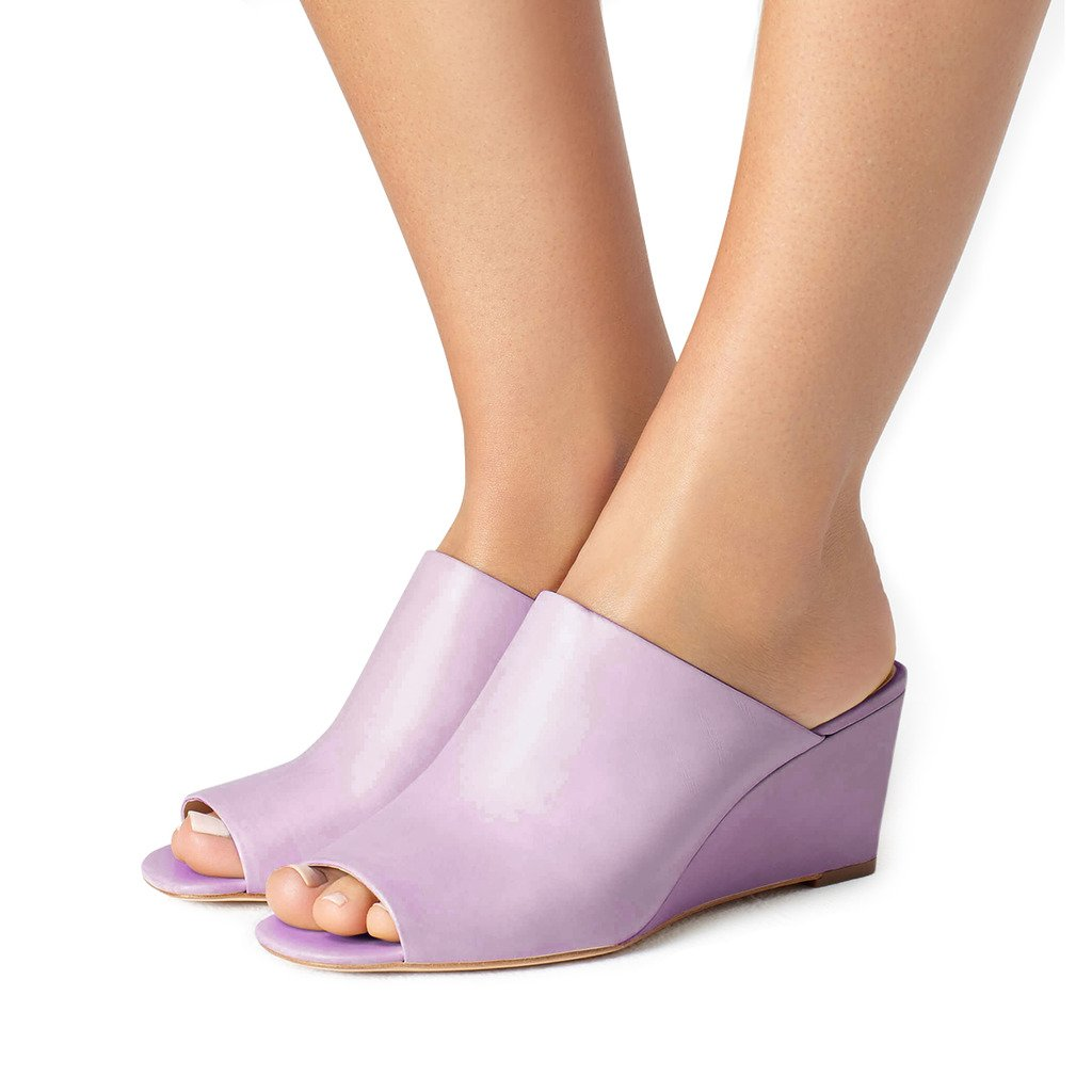 FSJ Women Sexy Peep Toe Mule Style Wedge Sandals Slip On Shoes for Casual Size 4-15 US B073CVZ7SK 4 B(M) US|Light Purple