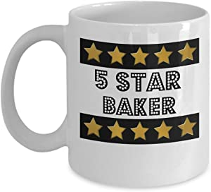 5 Star Baker - Novelty 11oz White Ceramic Baker Mug - Perfect Anniversary, Birthday or Holiday Coffee Tea Cup Gift For Bakers
