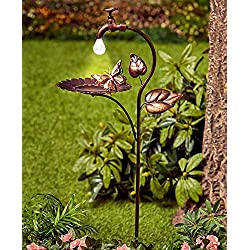 The Lakeside Collection Solar Bird Bath Bronze Sunflower