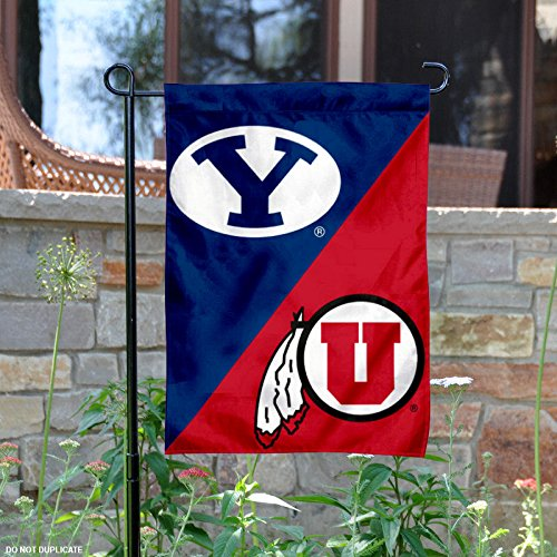 Brigham Young vs. Utah House Divided Garden Flag and Banner