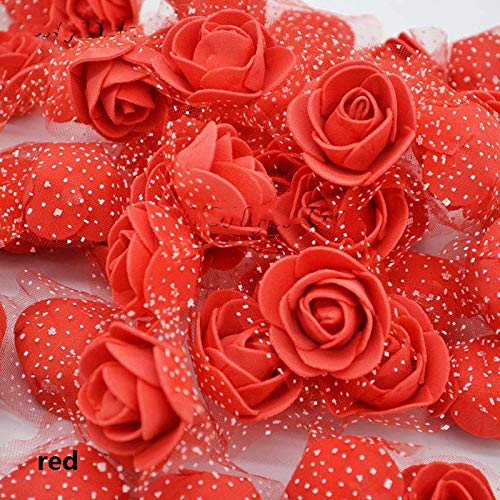 Aosreng 50Pcs/Lot 3Cm Mini PE Foam Roses Artificial Silk Flower Heads Use for Home Garden DIY Wreath Supplies Wedding Decoration red from Aosreng