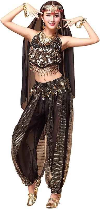 TAAMBAB Belly Dance India Baile árabe Disfraz de Carnaval de Halloween Conjunto Top + Pantalones + Cadena de Cabeza + Velo: Amazon.es: Ropa y accesorios