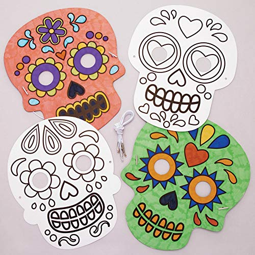 Baker Ross Day of The Dead Masks | Halloween Arts & Crafts Kids Project | Color or Paint Designs | Durable Cardstock Material | Celebrate Dia de Los Muertos | 8 Mask Pack