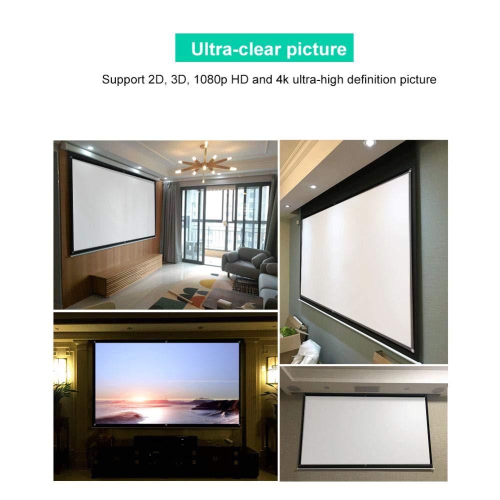 3D 1080p HD e 4k per Home Theater 60 Conferenza ecc. Esposizione pubblica Schermo per proiettori HD 60//80//100 pollici Schermo pieghevole portatile 16: 9 Supporto per tenda schermo 2D Scuola
