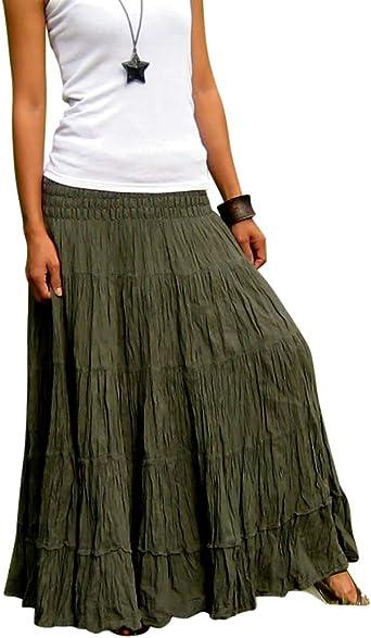 Billys Thai Shop - Falda larga para mujer - Verde - talla de un talla/Longitud 94 cm: Amazon.es: Ropa y accesorios