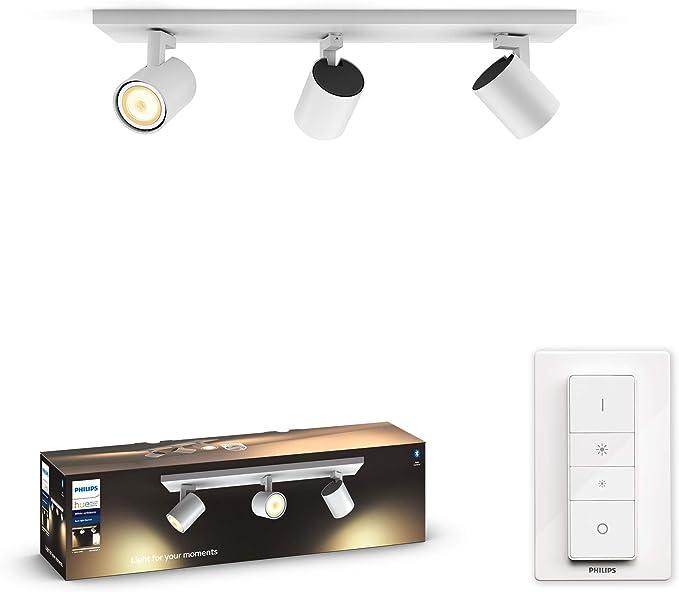 Philips Hue White Ambiance Runner 3 Faretti LED Smart, Bluetooth, Attacco GU10, 5.5 W, Telecomando Dimmer Switch Incluso, Equivalenti a 150 W, Bianco