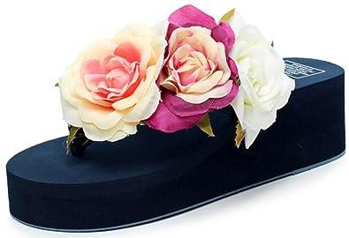 Easemax Damen Süß Groß Blume Hohe Keilabsatz Flip Flops Sandalen Beige 32 EU cbBnmNCvbs