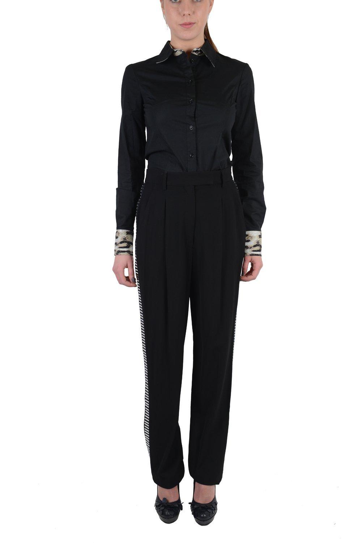 Viktor & Rolf Women's Black Tuxedo Style Tiny Mirrors Decorated Pants US 8 EU 44