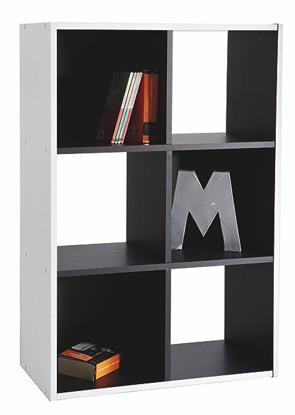 Abitti Estantería librería 6 Huecos 60x90cm. Blanco y Negro. para ...
