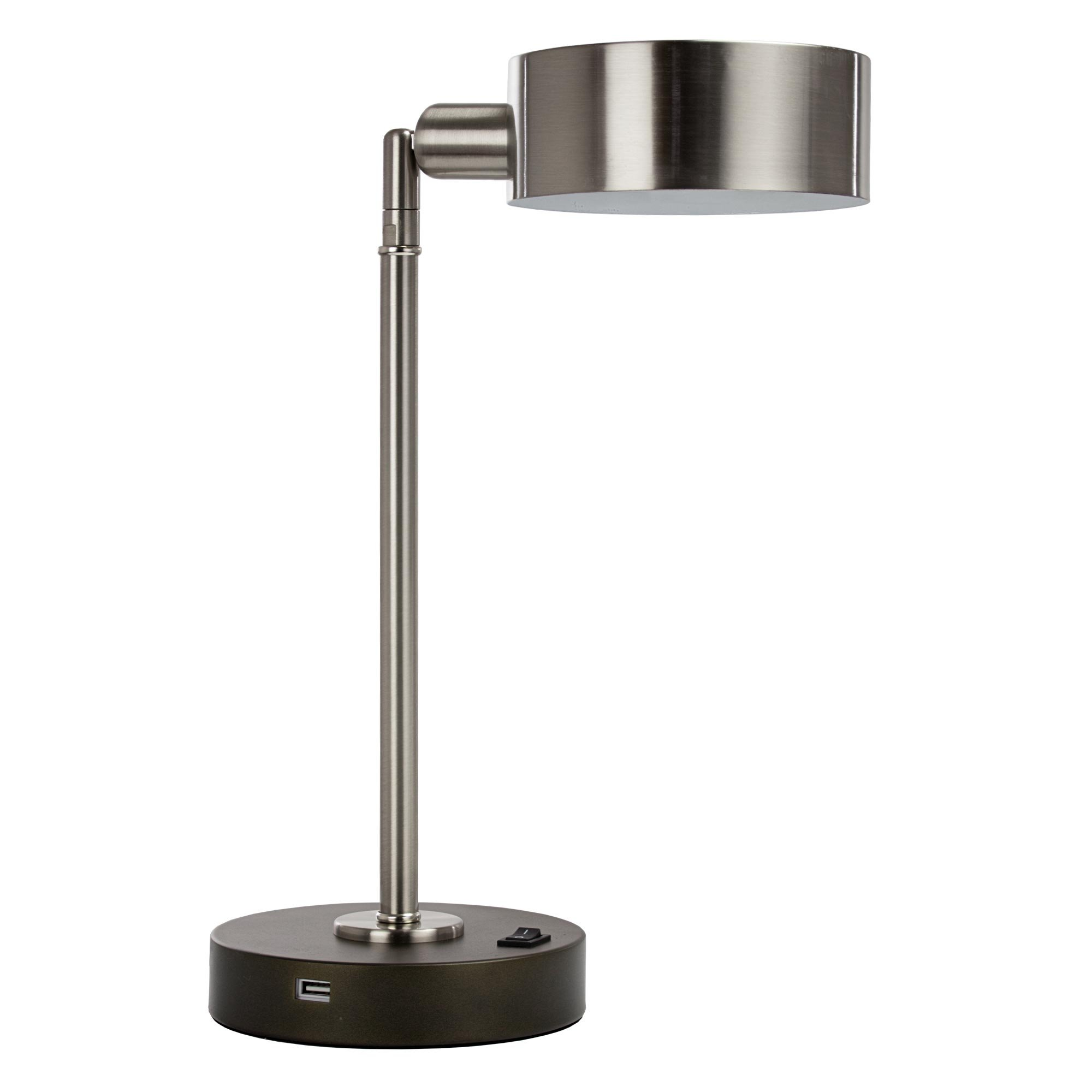 Major-Q Elegance LED USB Bedroom Office Table & Desk Lamp Modern Light with Smart Functional Port Ambient Living Dwelling Pivot Turn Swivel Beautiful Convenient On/Off Switch - Brushed Steel Silver