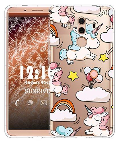 Funda Para Huawei Mate 10 Pro 6,0 pulgadas, Sunrive Silicona Slim Fit Gel Transparente Carcasa Case Bumper de Impactos y Anti-Arañazos Cojín de aire Espalda Cover(tpu Flor rosa) tpu Unicornio 2