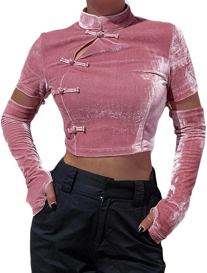 YUFAA Camisa con Cuello de Hebilla de Manga Larga Cheongsam Chino, Blusa con Parte Superior Qipao para Mujeres Camisas Tops (Color : Rosado, Size : S): Amazon.es: Ropa y accesorios