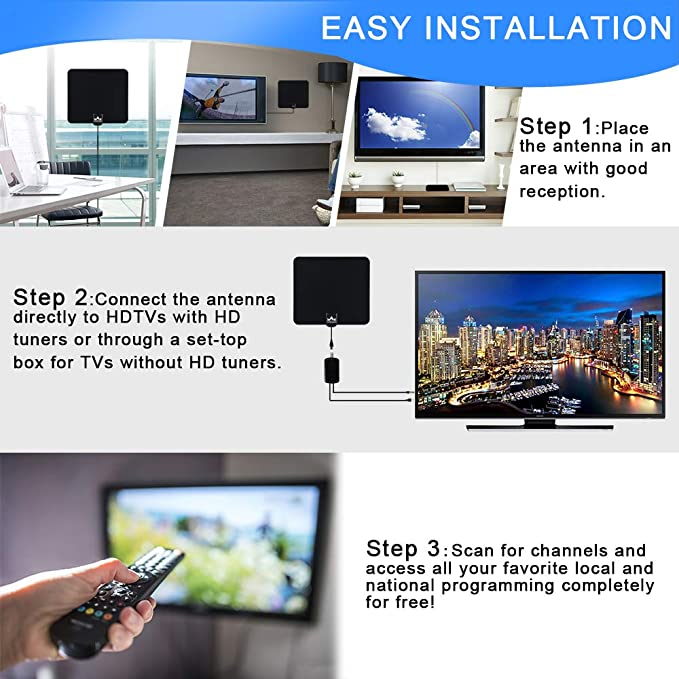 【2019 Latest】 HDTV Antenna Indoor Digital TV Antenna, Dumsamker 120+ Miles  Range HD Antenna with Amplifier Signal Booster and 13FT Coaxial Cable -