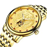 Men's Automatic Mechanical Watch Stainless Stell Full Gold Dragon Phoenix Skeleton Dial Luminous Watch (Gold)