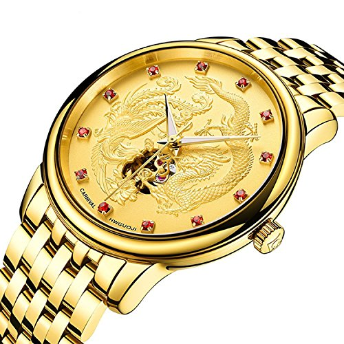 Men's Automatic Mechanical Watch Stainless Stell Full Gold Dragon Phoenix Skeleton Dial Luminous Watch (Gold) by MASTOP