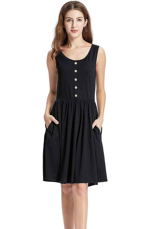 449b4281d6d0 MCTY Women's Sleeveless T-Shirt Dress Crew Neck Swing Casual Summer Dress  at Amazon Women's Clothing store: