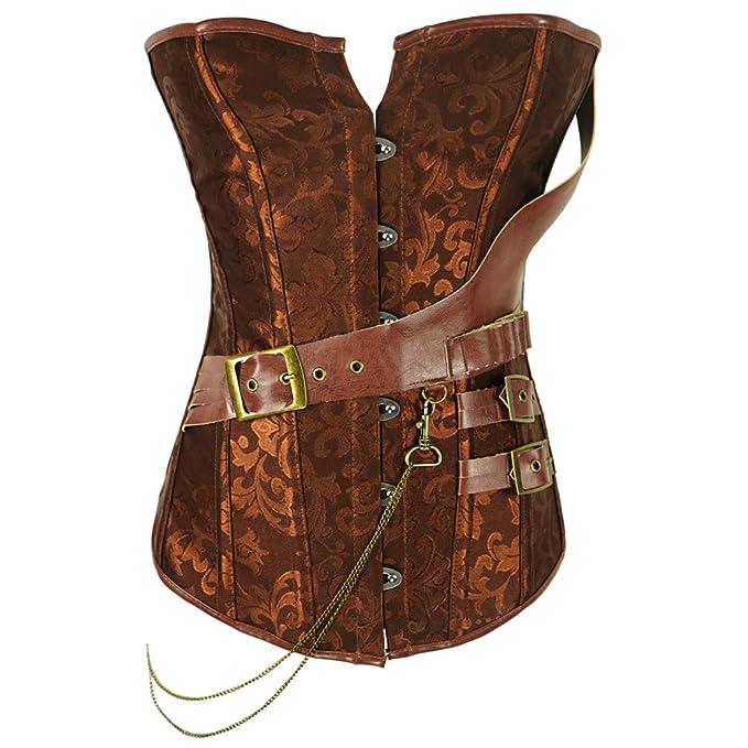 9705f4f00e Vangee Women s Steel Boned Brocade Waist Cincher Underbust Lace-up Corset  Vest