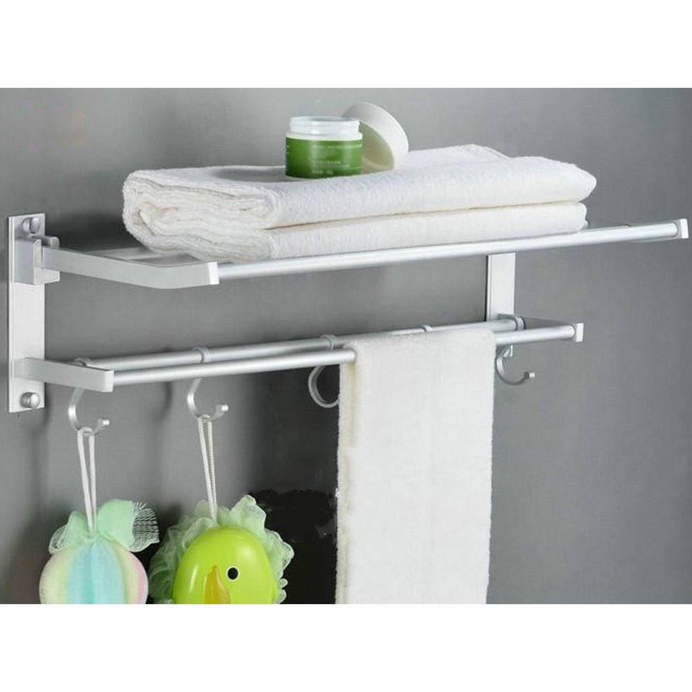 Toallero, baño Kasliny Toallero doble para baño, Aleación de aluminio Estante de almacenamiento plegable montado en la pared con 5 ganchos: Amazon.es: Hogar