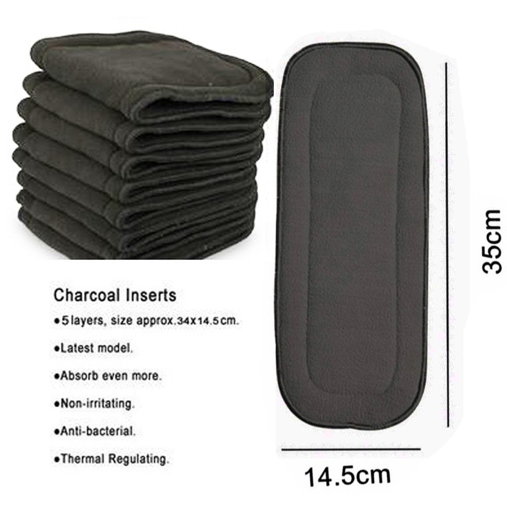 Babyfriend Charcoal Bamboo Inserts 5 Layers Reusable Baby Cloth Nappy Diaper Liners,6 PCS,Grey Color