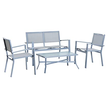 Outsunny 4 Piece Outdoor Patio Conversation Set Sling Sofa Chair Seating Set    Grey