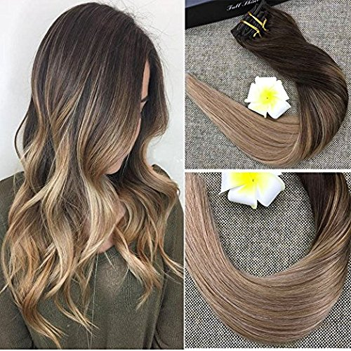 Beauty : Full Shine 18 inch Clip in Colored Hair Extensions Balayage Hair Highlight Color #4 Fading to #18 and #27 Straight Clip in Extensions