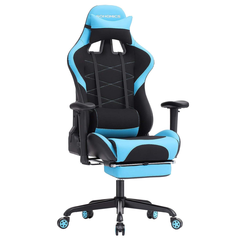 SONGMICS Gaming Gaming Gaming Stuhl Bürostuhl Schreibtischstuhl mit Armlehnen, Sportsitz Optik Schwarz-Blau RCG52BU 784a54