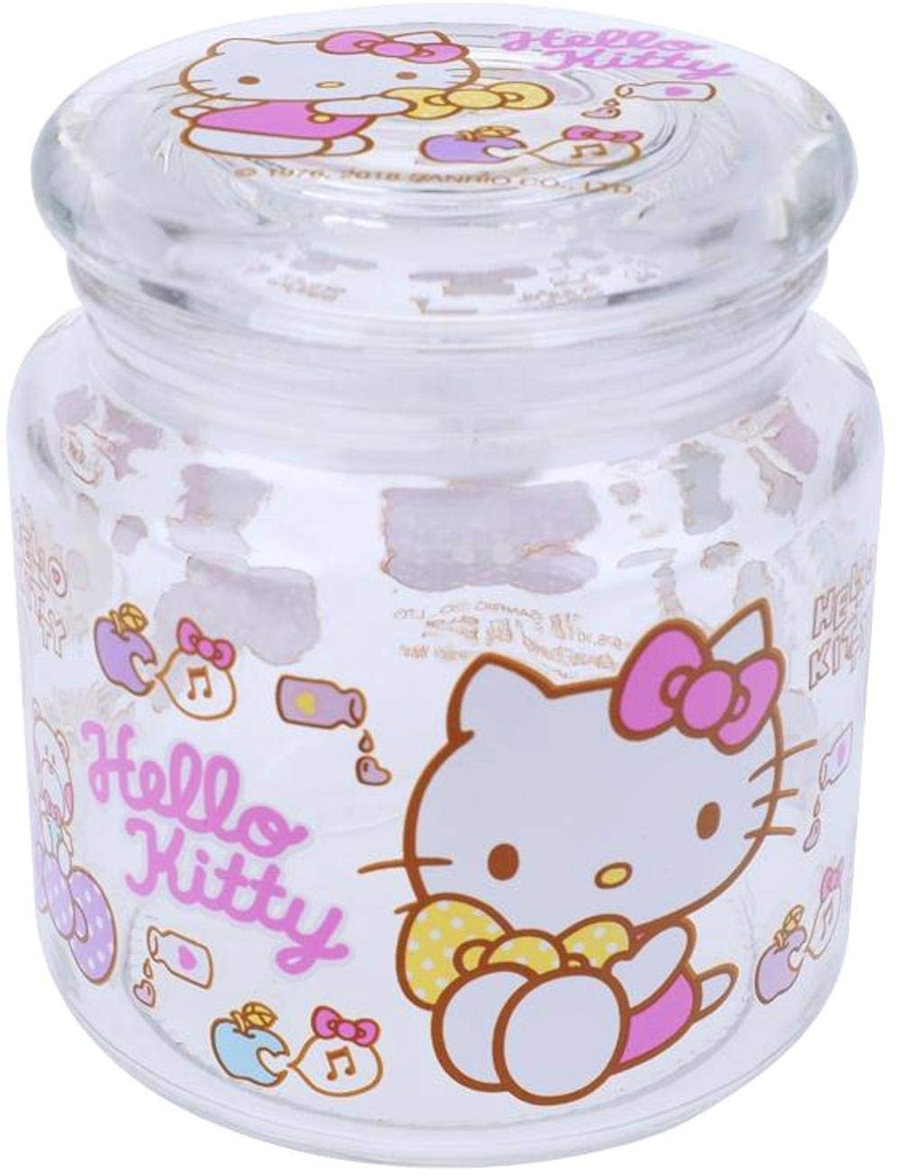Hello Kitty Transparent Glass Storage Jar Snacks Cookies Sugar Airtight Container 480 ml Kitchen Canister
