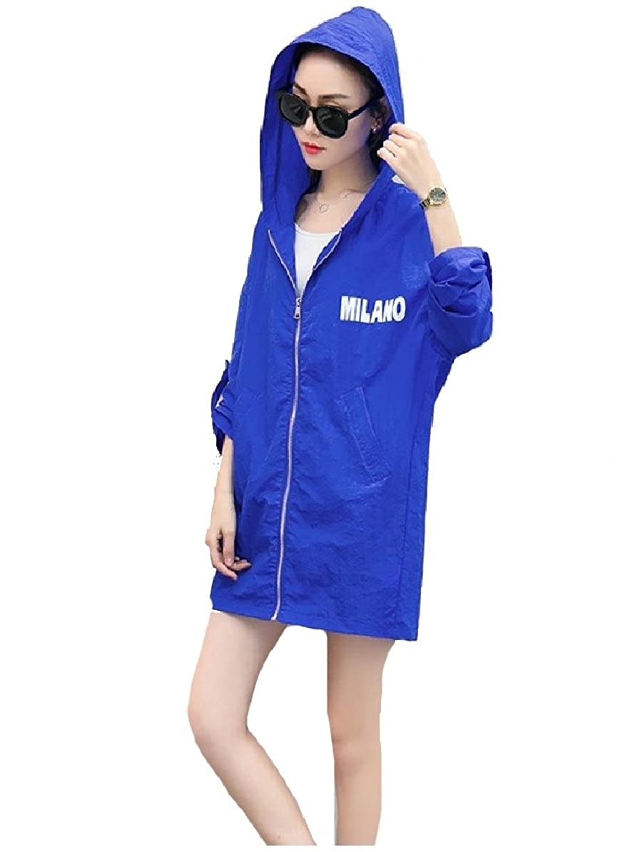 YUNY Women Trench Mid Long Hood Sunscreen Plus Size Overcoat Jackets Sapphire Blue XS