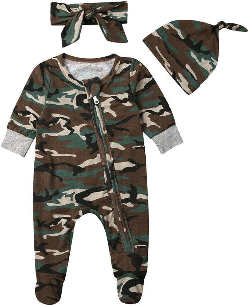 Chapeau AIORNIY Infant Combinaison Barboteuse Ensemble B/éb/és Filles Gar/çons Camouflage Imprimer /à Manches Longues Zipper Barboteuse V/êTements Bande De Cheveux 6-24 Mois