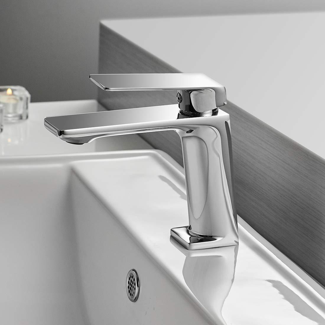 WANFAN Modern Bathroom Sink Faucet Single Handle One Hole Deck Mount Lavatory Laundry Vanity Sink Faucet Brass Polished Gold 9922K