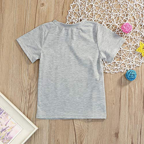 Younger star 1PC Children Baby Boy Gray Letter Print Short Sleeve T-Shirt Clothes Outfit (Gray-Brother, 3 T) by Younger star (Image #2)