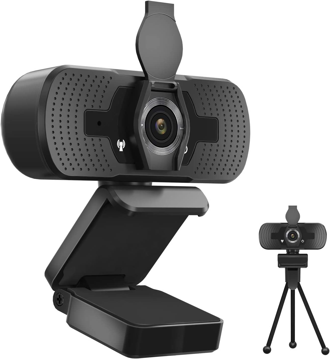2020 1944P Webcam with Microphone Privacy Cover Tripod, 5 MP Desktop Laptop Computer Web Camera, for Windows Mac OS, Plug and Play, for Zoom, YouTube, Skype, Video Call, Conference, Online Classes