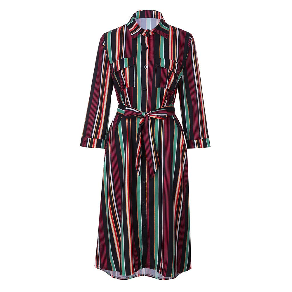 Ulanda Fashion Womens Long Sleeves Striped Dresses Multicolor Loose Button Bohemia Dress with Belt by Ulanda