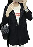 ELPIS レディース ミリタリー モッズ コート フード付き ハーフ 長袖 アウター ジャケット ウエスト絞り 大きいサイズ 防寒 暖かい カジュアル S M L XL 2XL 全2色