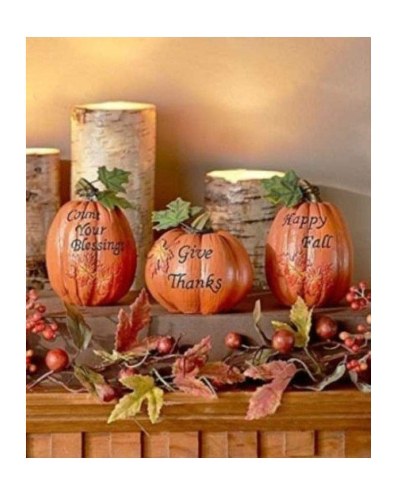 3 Pc Fall Pumpkin Decorations Autumn Thanksgiving Halloween Table Top Country by Turner's Merchant House