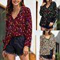 Blouses for Womens, FORUU Fashion V-Neck Long Sleeve Plus Size Leopard Print T-Shirt Tops